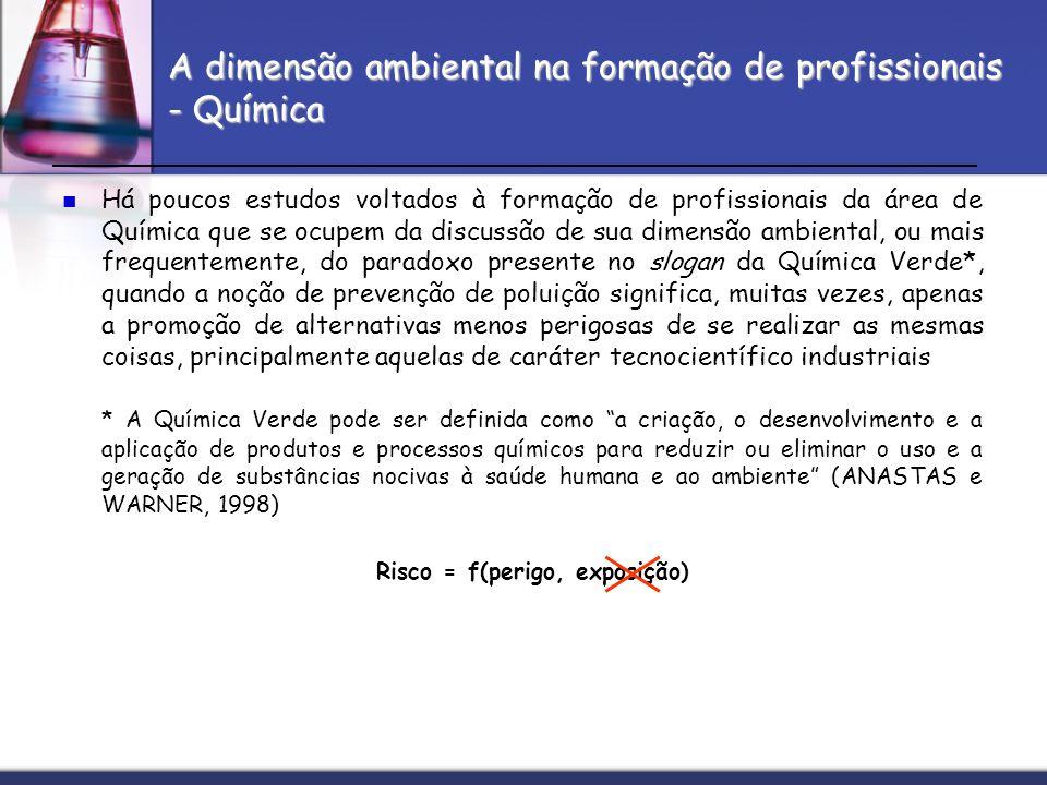 A dimensão ambiental na formação de profissionais - Química Há poucos estudos voltados à formação de profissionais da área de Química que se ocupem da