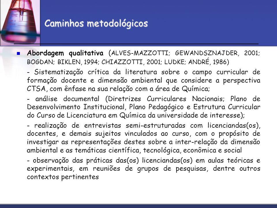 Caminhos metodológicos Abordagem qualitativa ( ALVES-MAZZOTTI; GEWANDSZNAJDER, 2001; BOGDAN; BIKLEN, 1994; CHIAZZOTTI, 2001; LUDKE; ANDRÉ, 1986) - Sis