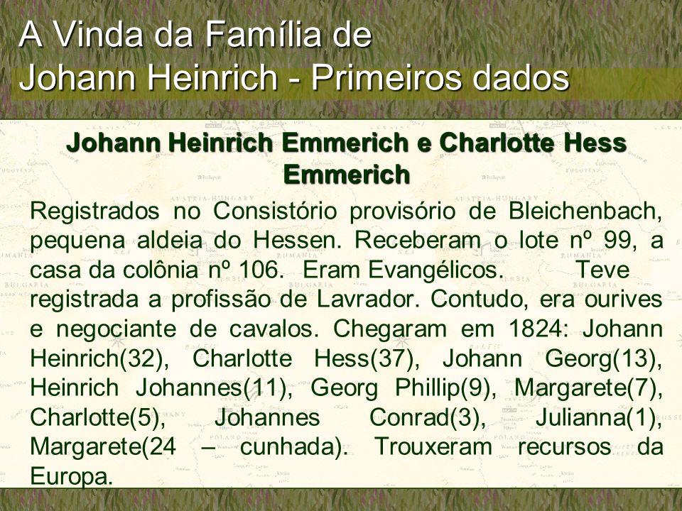 A Vinda da Família de Johann Heinrich - Primeiros dados Johann Heinrich Emmerich e Charlotte Hess Emmerich Registrados no Consistório provisório de Bl