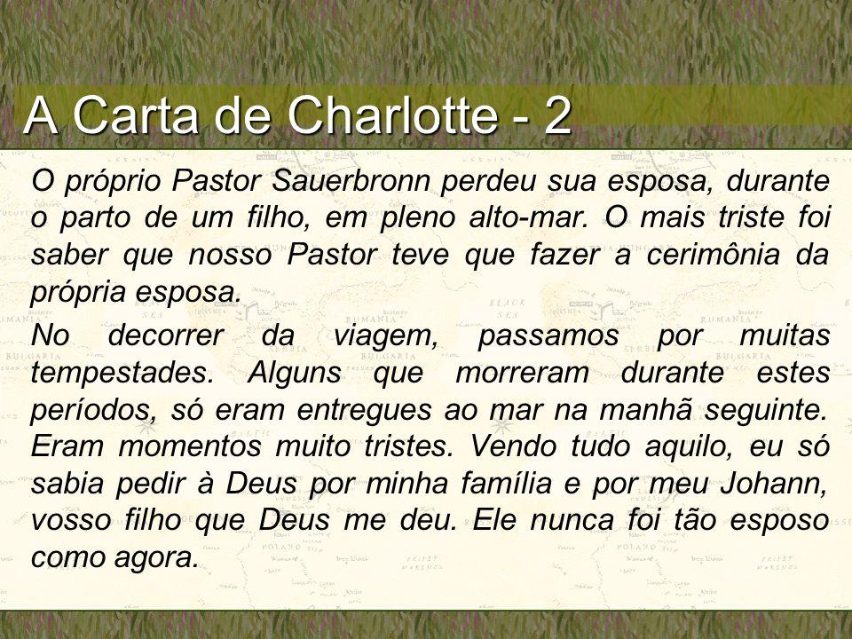 A Carta de Charlotte - 2 O próprio Pastor Sauerbronn perdeu sua esposa, durante o parto de um filho, em pleno alto-mar.