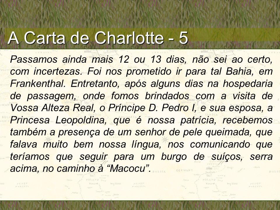 A Carta de Charlotte - 5 Passamos ainda mais 12 ou 13 dias, não sei ao certo, com incertezas. Foi nos prometido ir para tal Bahia, em Frankenthal. Ent