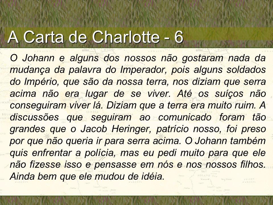 A Carta de Charlotte - 6 O Johann e alguns dos nossos não gostaram nada da mudança da palavra do Imperador, pois alguns soldados do Império, que são da nossa terra, nos diziam que serra acima não era lugar de se viver.