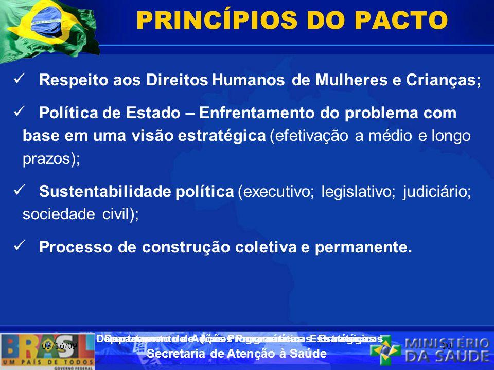 Secretaria de Atenção à Saúde Departamento de Ações Programáticas Estratégicas 03/16/0910 PRINCÍPIOS DO PACTO Respeito aos Direitos Humanos de Mulhere