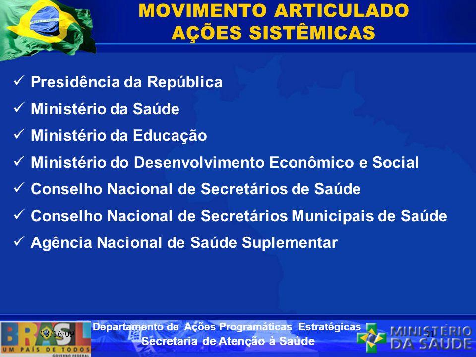 Secretaria de Atenção à Saúde Departamento de Ações Programáticas Estratégicas 03/16/0911 MOVIMENTO ARTICULADO AÇÕES SISTÊMICAS Presidência da Repúbli