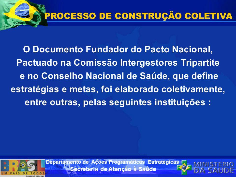 Secretaria de Atenção à Saúde Departamento de Ações Programáticas Estratégicas 03/16/0913 PROCESSO DE CONSTRUÇÃO COLETIVA O Documento Fundador do Pact