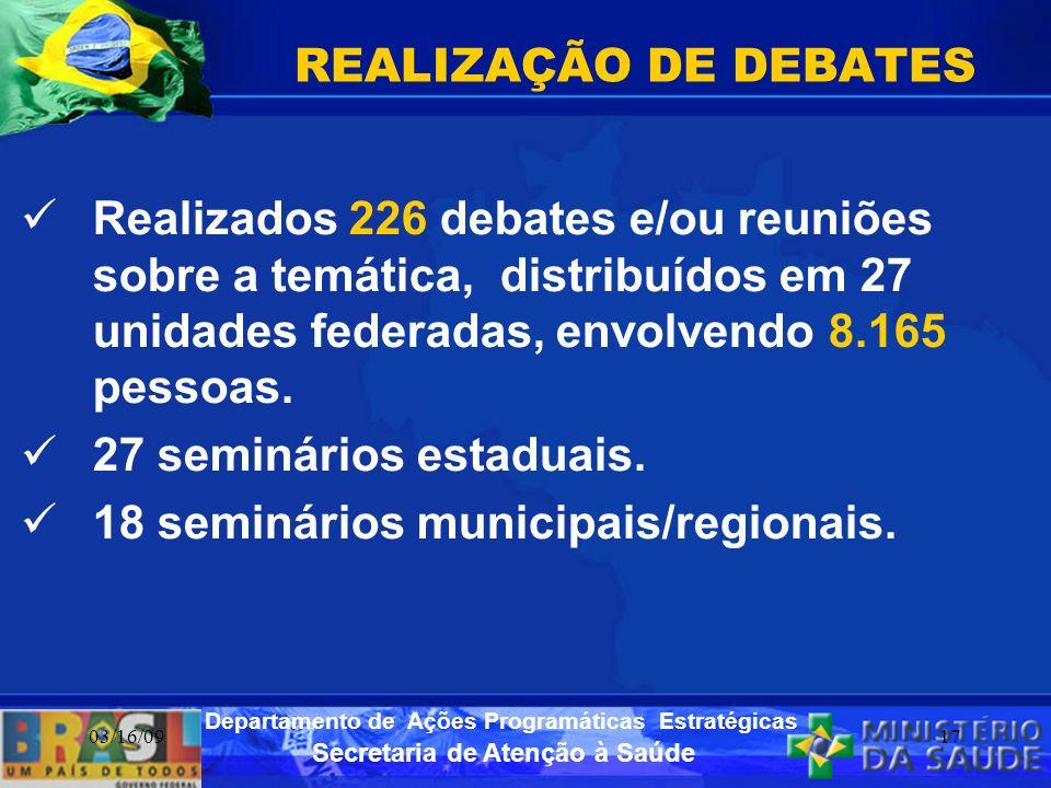 Secretaria de Atenção à Saúde Departamento de Ações Programáticas Estratégicas 03/16/0917 REALIZAÇÃO DE DEBATES Realizados 226 debates e/ou reuniões s
