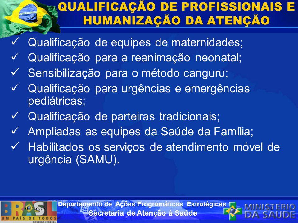 Secretaria de Atenção à Saúde Departamento de Ações Programáticas Estratégicas 03/16/0919 QUALIFICAÇÃO DE PROFISSIONAIS E HUMANIZAÇÃO DA ATENÇÃO Quali