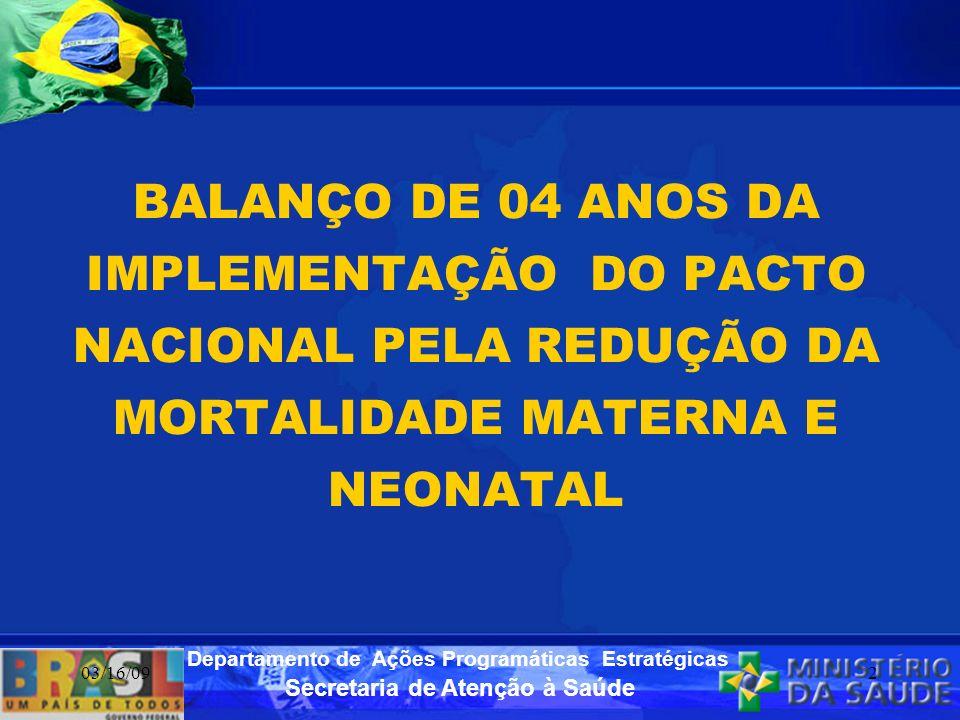 Secretaria de Atenção à Saúde Departamento de Ações Programáticas Estratégicas 03/16/092 BALANÇO DE 04 ANOS DA IMPLEMENTAÇÃO DO PACTO NACIONAL PELA RE