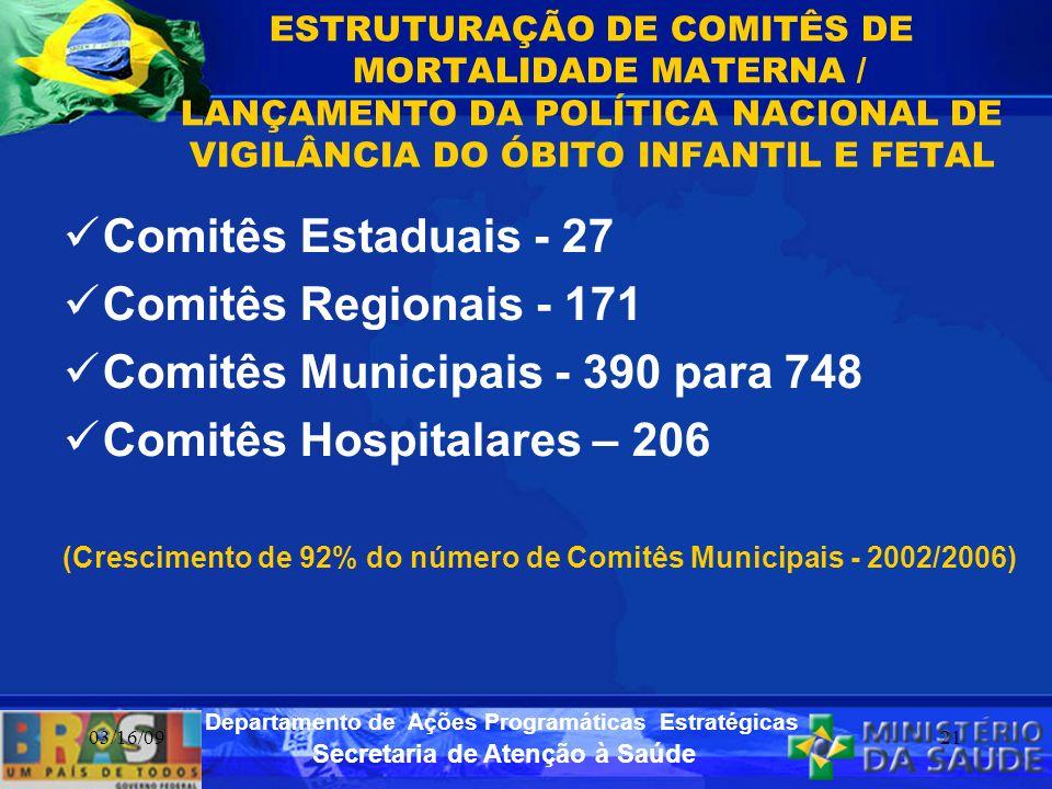 Secretaria de Atenção à Saúde Departamento de Ações Programáticas Estratégicas 03/16/0921 ESTRUTURAÇÃO DE COMITÊS DE MORTALIDADE MATERNA / LANÇAMENTO