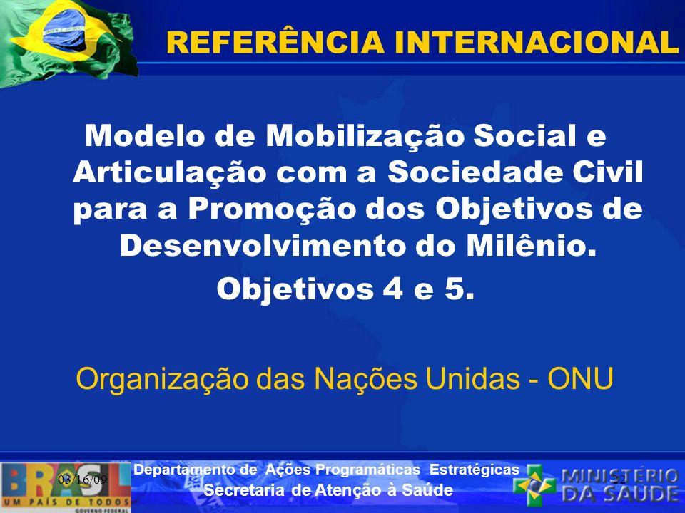 Secretaria de Atenção à Saúde Departamento de Ações Programáticas Estratégicas 03/16/0922 REFERÊNCIA INTERNACIONAL Modelo de Mobilização Social e Arti