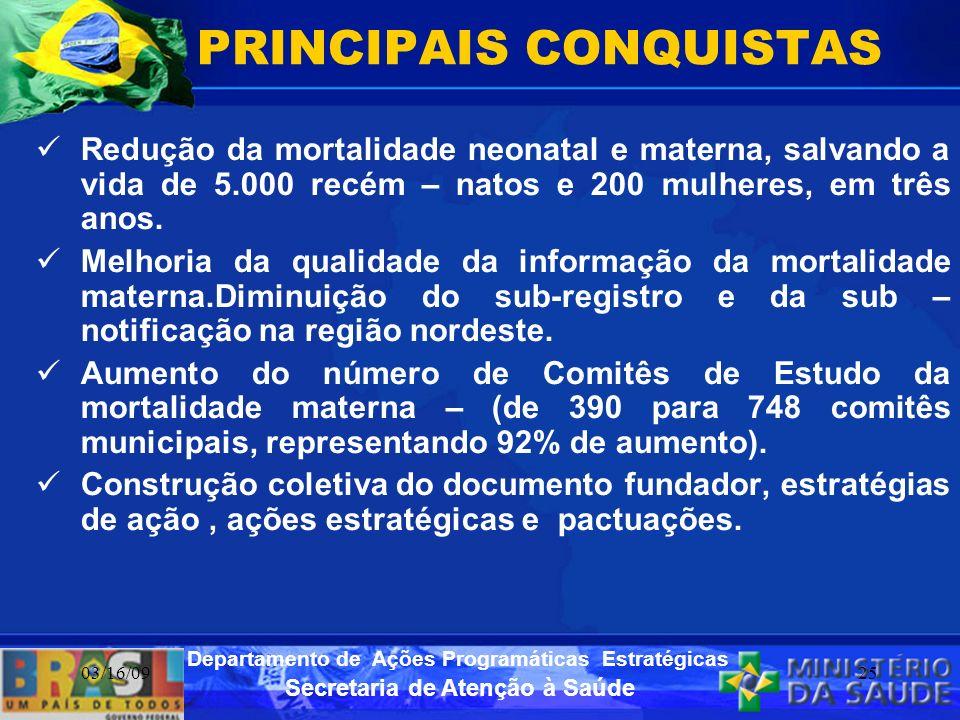 Secretaria de Atenção à Saúde Departamento de Ações Programáticas Estratégicas 03/16/0925 PRINCIPAIS CONQUISTAS Redução da mortalidade neonatal e mate