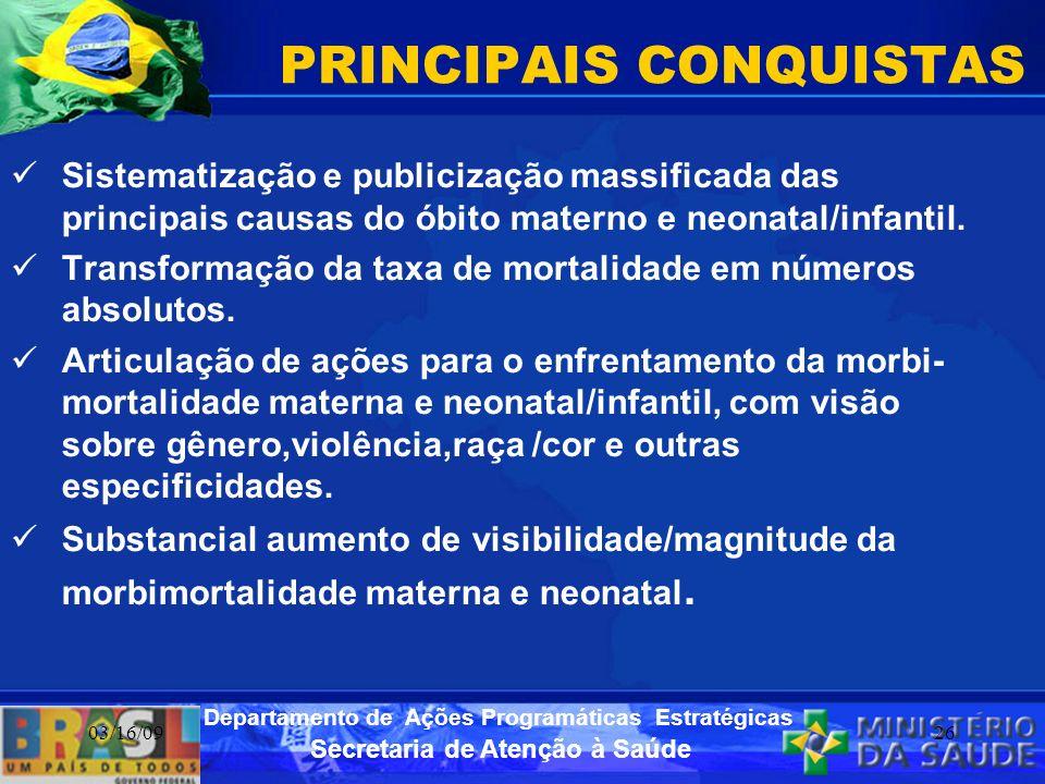 Secretaria de Atenção à Saúde Departamento de Ações Programáticas Estratégicas 03/16/0926 PRINCIPAIS CONQUISTAS Sistematização e publicização massific
