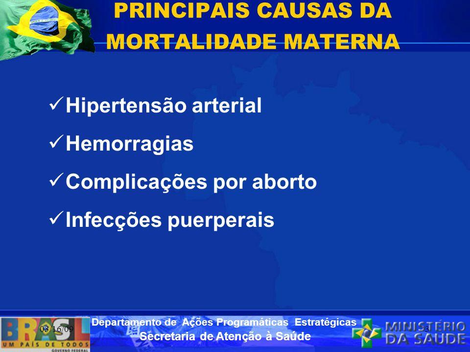 Secretaria de Atenção à Saúde Departamento de Ações Programáticas Estratégicas 03/16/093 PRINCIPAIS CAUSAS DA MORTALIDADE MATERNA Hipertensão arterial