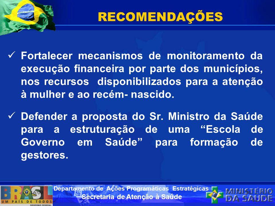 Secretaria de Atenção à Saúde Departamento de Ações Programáticas Estratégicas 03/16/0931 RECOMENDAÇÕES Fortalecer mecanismos de monitoramento da exec