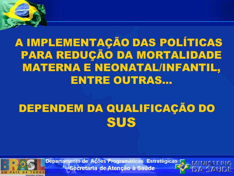 Secretaria de Atenção à Saúde Departamento de Ações Programáticas Estratégicas 03/16/0936 A IMPLEMENTAÇÃO DAS POLÍTICAS PARA REDUÇÃO DA MORTALIDADE MA