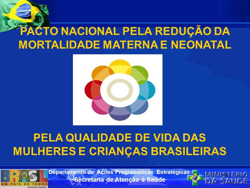 Secretaria de Atenção à Saúde Departamento de Ações Programáticas Estratégicas 03/16/0939 PELA QUALIDADE DE VIDA DAS MULHERES E CRIANÇAS BRASILEIRAS P