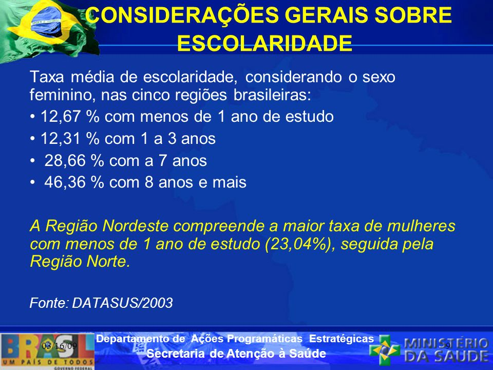 Secretaria de Atenção à Saúde Departamento de Ações Programáticas Estratégicas 03/16/099 CONSIDERAÇÕES GERAIS SOBRE ESCOLARIDADE Taxa média de escolar