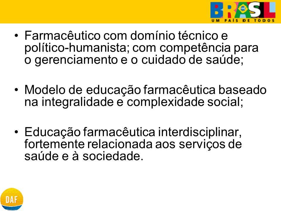 Farmacêutico com domínio técnico e político-humanista; com competência para o gerenciamento e o cuidado de saúde; Modelo de educação farmacêutica base