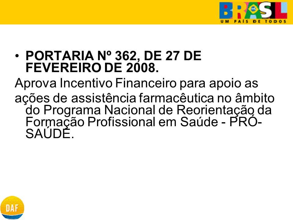 PORTARIA Nº 362, DE 27 DE FEVEREIRO DE 2008. Aprova Incentivo Financeiro para apoio as ações de assistência farmacêutica no âmbito do Programa Naciona