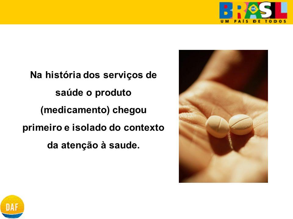 Na história dos serviços de saúde o produto (medicamento) chegou primeiro e isolado do contexto da atenção à saude.