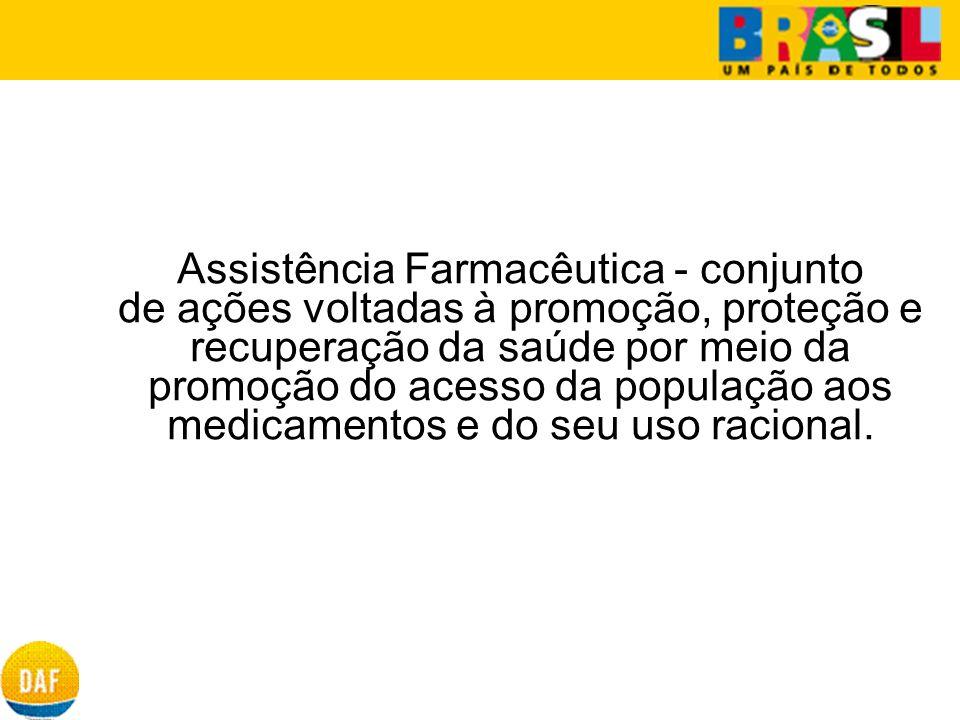 Assistência Farmacêutica - conjunto de ações voltadas à promoção, proteção e recuperação da saúde por meio da promoção do acesso da população aos medi