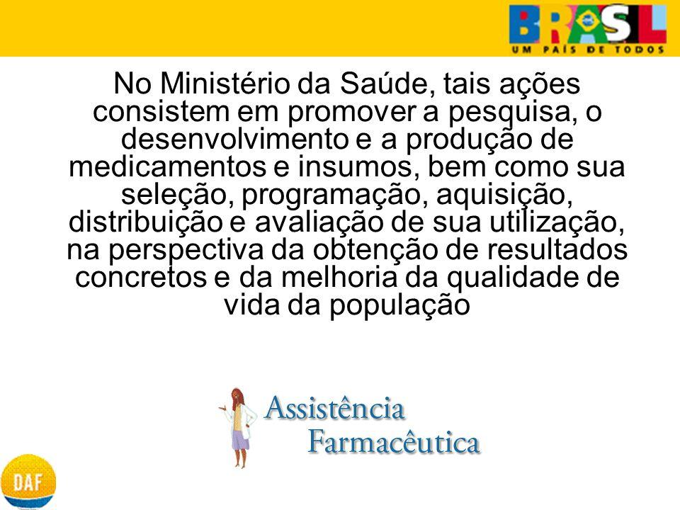 No Ministério da Saúde, tais ações consistem em promover a pesquisa, o desenvolvimento e a produção de medicamentos e insumos, bem como sua seleção, p