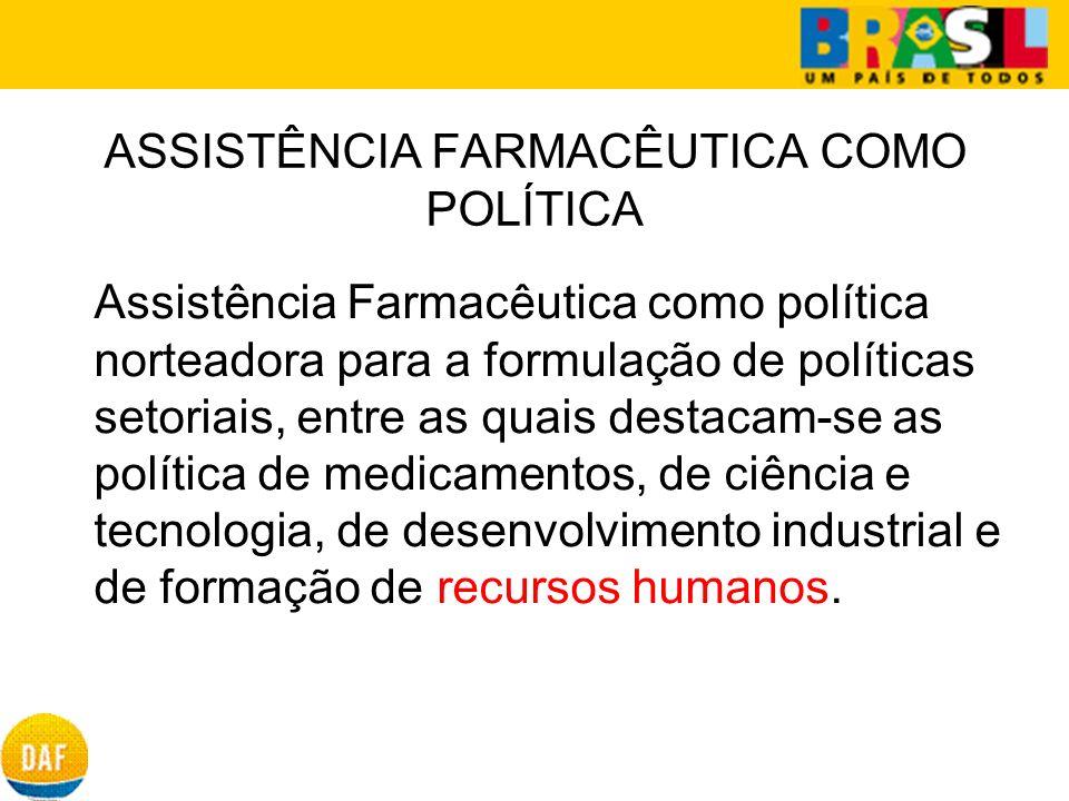 ASSISTÊNCIA FARMACÊUTICA COMO POLÍTICA Assistência Farmacêutica como política norteadora para a formulação de políticas setoriais, entre as quais dest