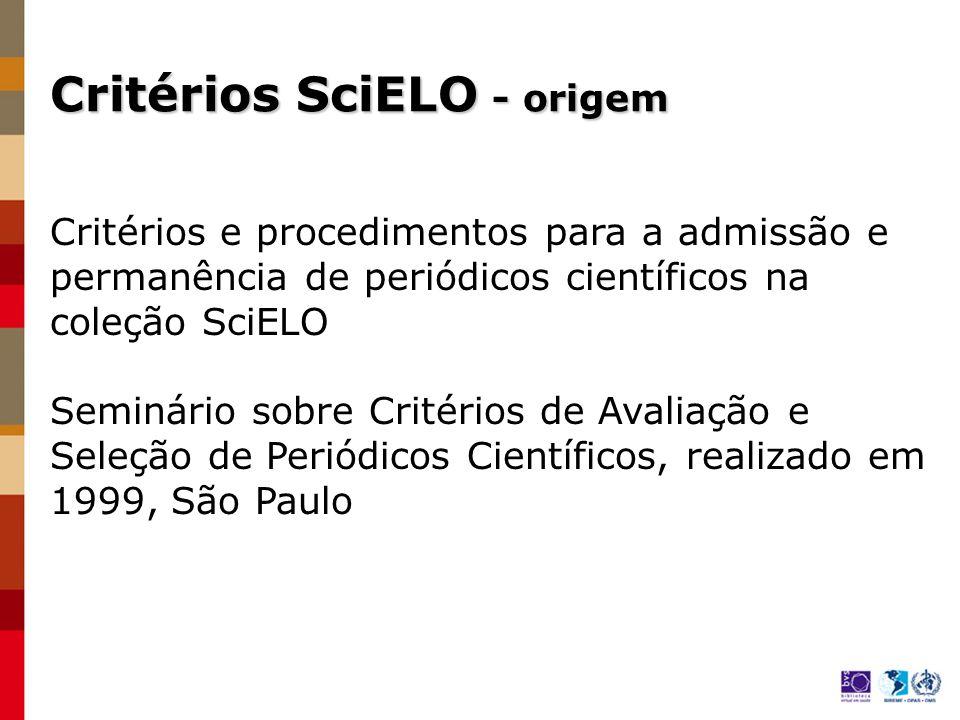 Reconhecimento internacional do processo de seleção da coleção SciELO Brasil Adoção e aplicação dos Critérios SciELO pelos países da Rede Conclusões