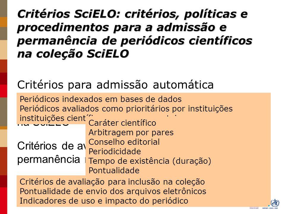 Critérios SciELO - panarama da Rede SciELO Chile SciELO Cuba SciELO Espanha SciELO Saúde Pública SciELO Venezuela SciELO Brasil