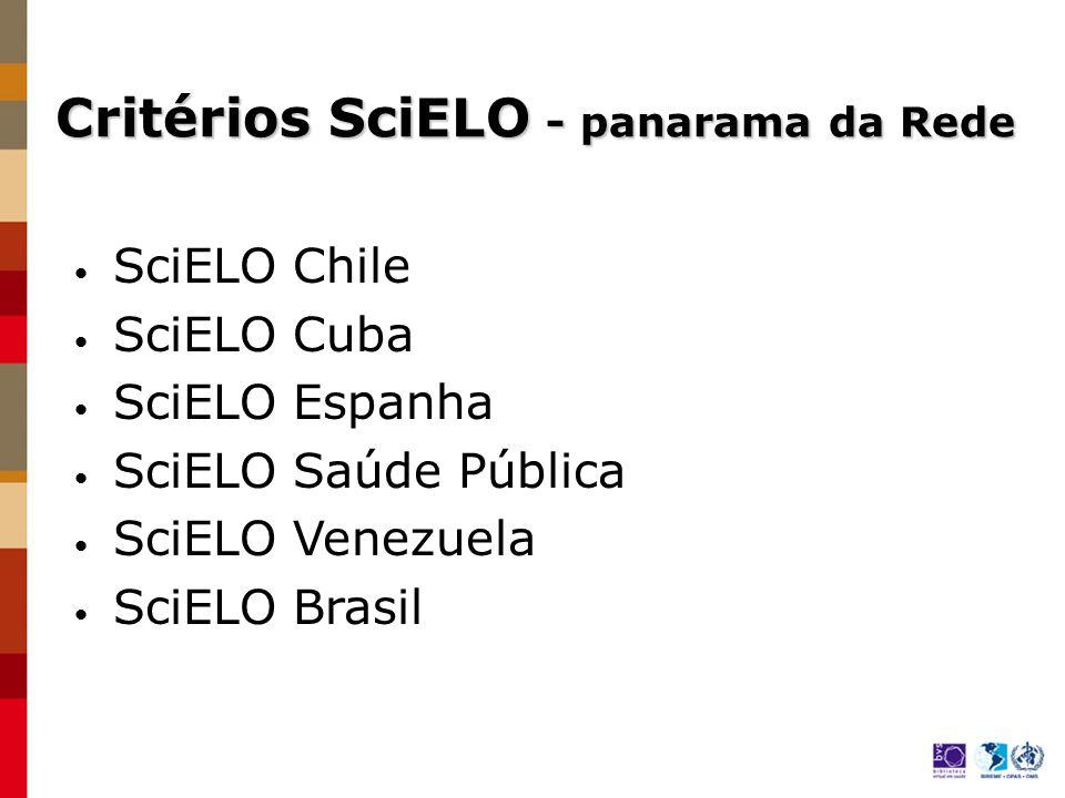 Critérios SciELO Brasil Diferenças Critérios para admissão automática de periódicos na coleção Periodicidade e número de artigo publicados por ano http://www.scielo.br/criteria/scielo_brasil_pt.html