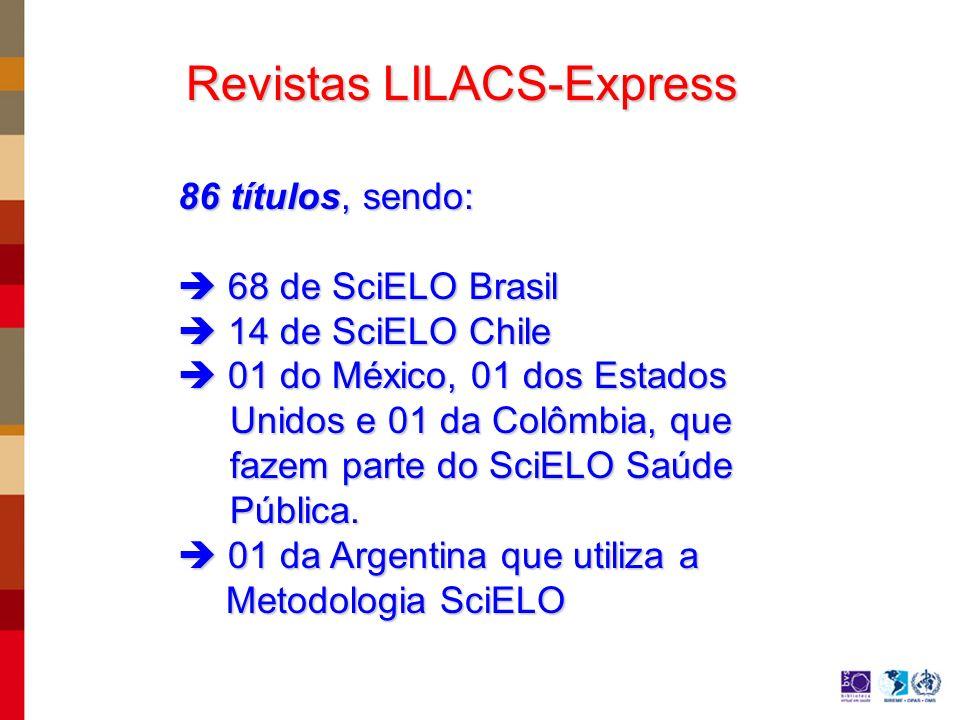 Revistas LILACS-Express 86 títulos, sendo: 68 de SciELO Brasil 68 de SciELO Brasil 14 de SciELO Chile 14 de SciELO Chile 01 do México, 01 dos Estados 01 do México, 01 dos Estados Unidos e 01 da Colômbia, que Unidos e 01 da Colômbia, que fazem parte do SciELO Saúde fazem parte do SciELO Saúde Pública.