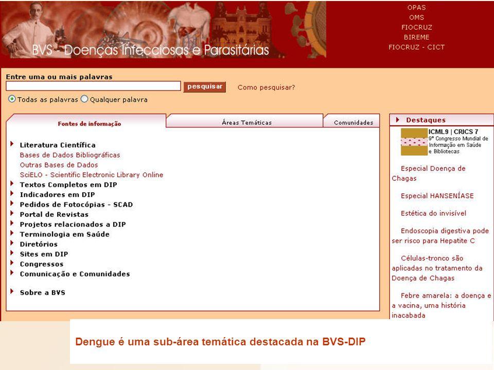 Dengue é uma sub-área temática destacada na BVS-DIP