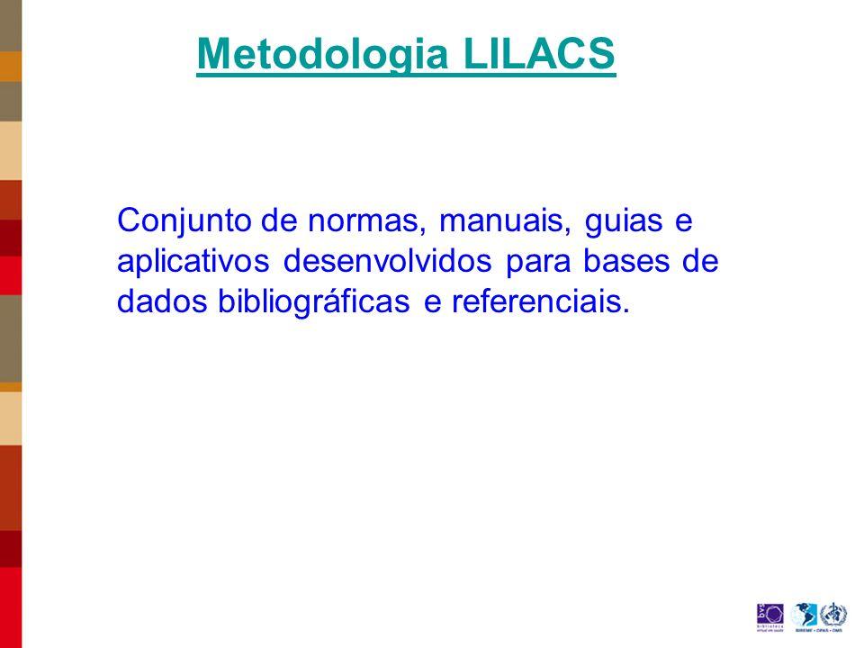 Metodologia LILACS Conjunto de normas, manuais, guias e aplicativos desenvolvidos para bases de dados bibliográficas e referenciais.