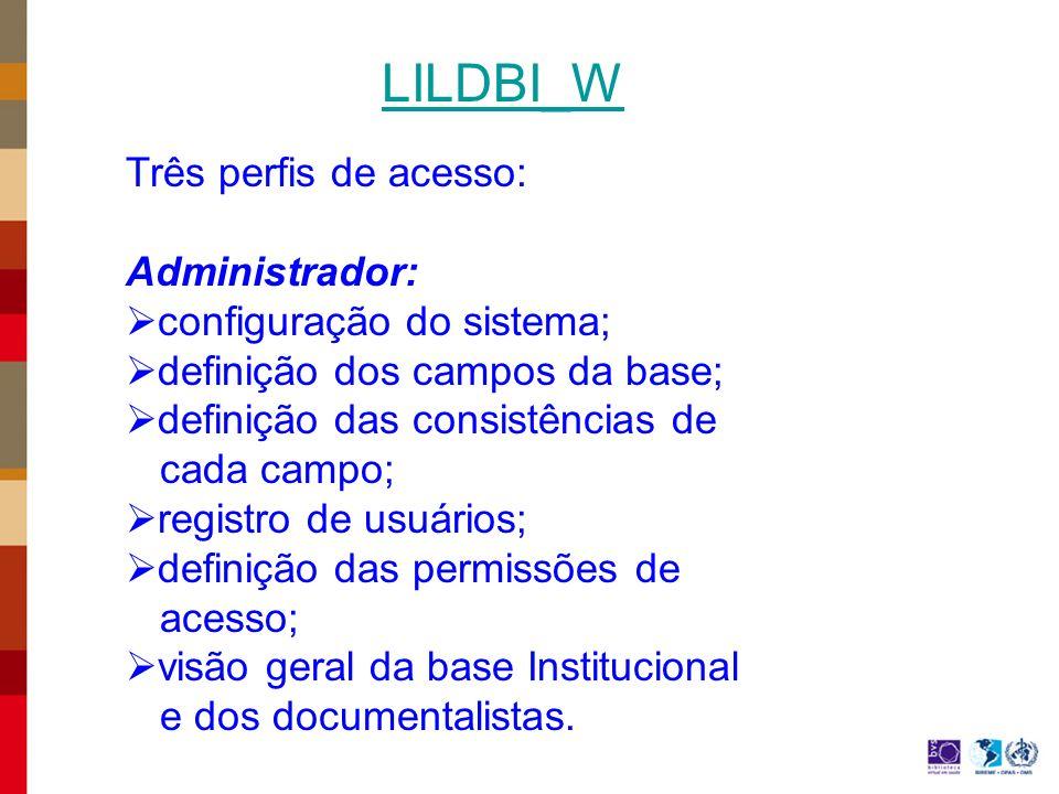 Três perfis de acesso: Administrador: configuração do sistema; definição dos campos da base; definição das consistências de cada campo; registro de usuários; definição das permissões de acesso; visão geral da base Institucional e dos documentalistas.