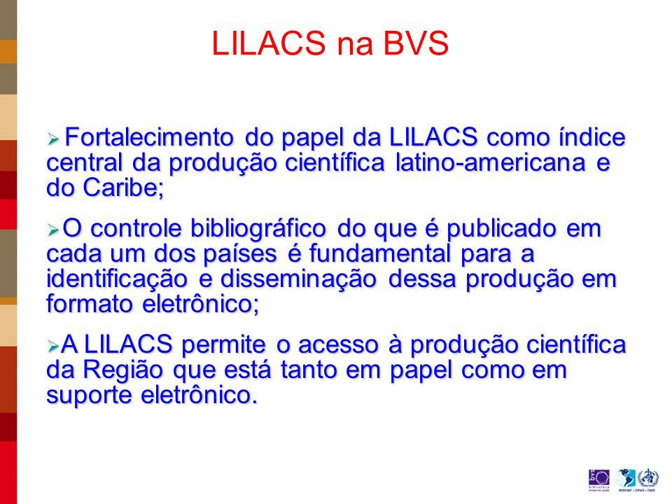LILACS na BVS Fortalecimento do papel da LILACS como índice central da produção científica latino-americana e do Caribe; Fortalecimento do papel da LILACS como índice central da produção científica latino-americana e do Caribe; O controle bibliográfico do que é publicado em cada um dos países é fundamental para a identificação e disseminação dessa produção em formato eletrônico; O controle bibliográfico do que é publicado em cada um dos países é fundamental para a identificação e disseminação dessa produção em formato eletrônico; A LILACS permite o acesso à produção científica da Região que está tanto em papel como em suporte eletrônico.