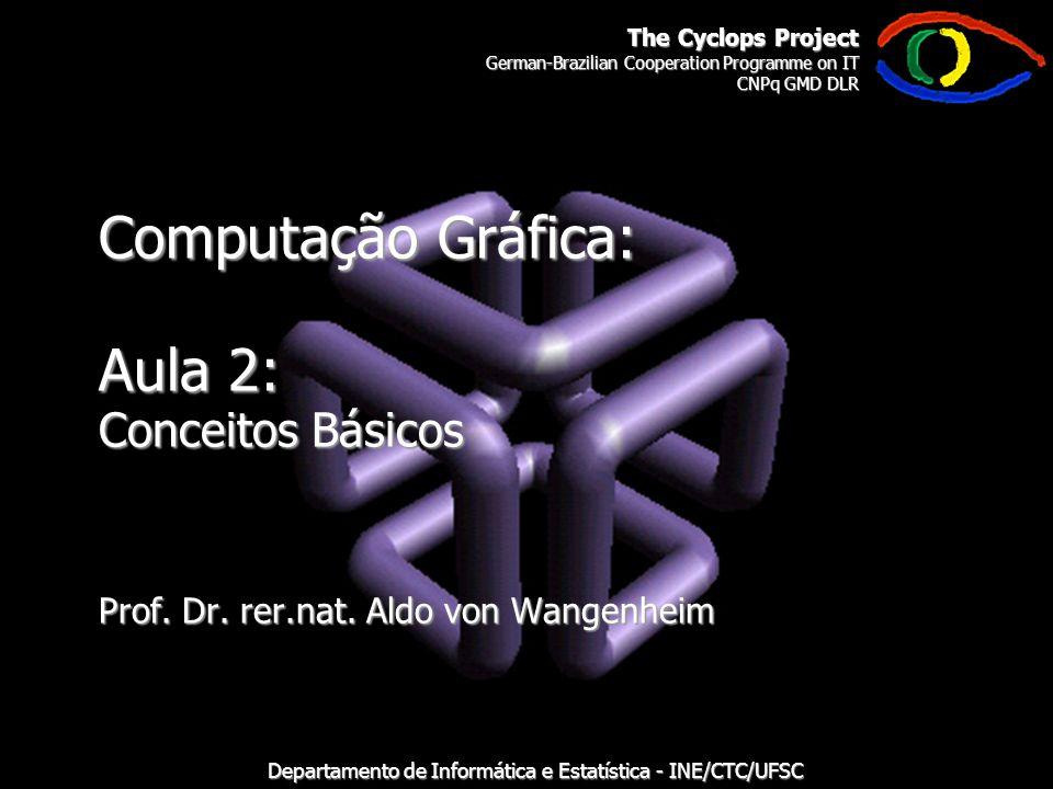 The Cyclops Project German-Brazilian Cooperation Programme on IT CNPq GMD DLR Departamento de Informática e Estatística - INE/CTC/UFSC Computação Gráfica: Aula 2: Conceitos Básicos Prof.