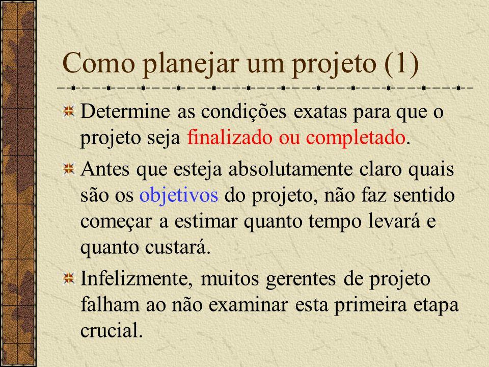Como planejar um projeto (2) Faça um inventário de todo o trabalho que precisa ser feito com uma estimativa do tempo necessário para um único membro da equipe.