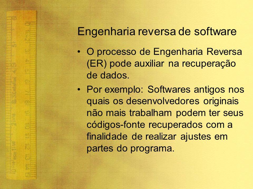 Engenharia reversa de software O processo de Engenharia Reversa (ER) pode auxiliar na recuperação de dados. Por exemplo: Softwares antigos nos quais o