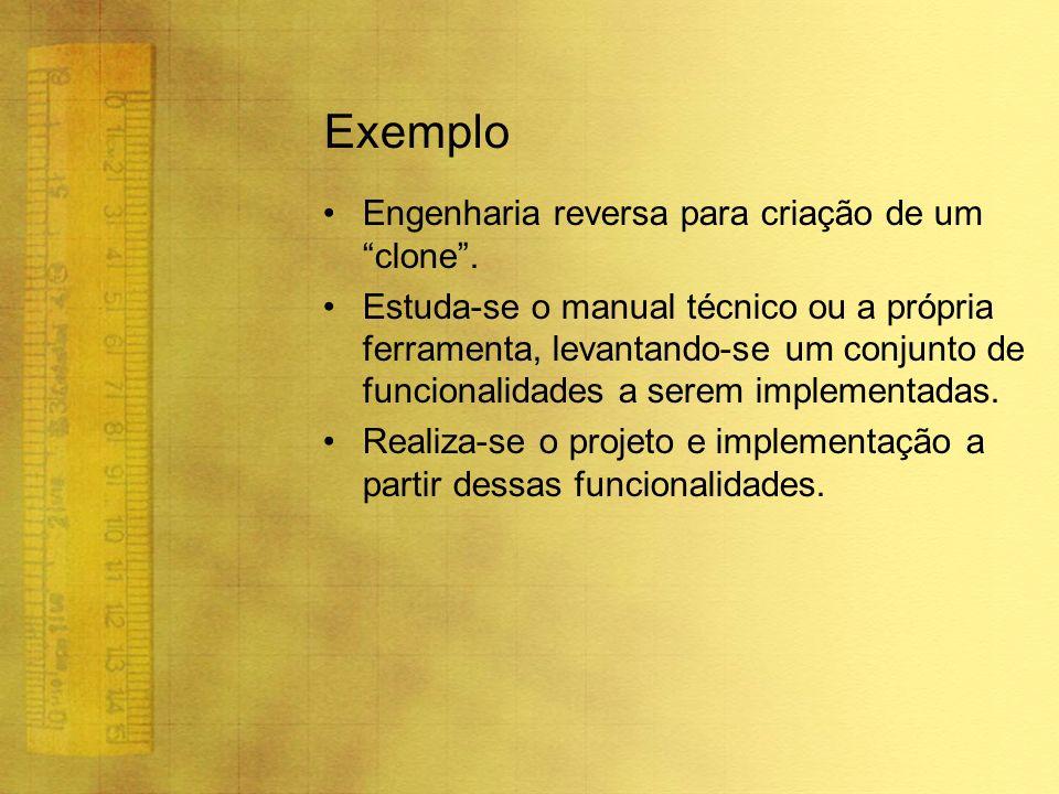 Exemplo Engenharia reversa para criação de um clone. Estuda-se o manual técnico ou a própria ferramenta, levantando-se um conjunto de funcionalidades