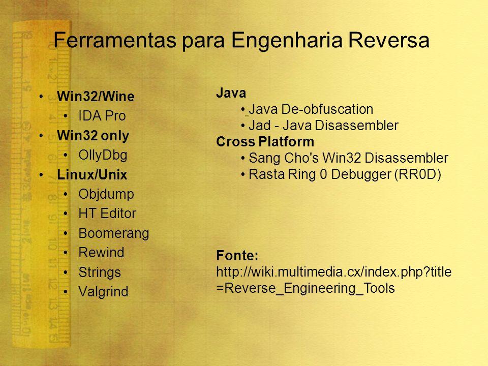 Ferramentas para Engenharia Reversa Win32/Wine IDA Pro Win32 only OllyDbg Linux/Unix Objdump HT Editor Boomerang Rewind Strings Valgrind Java Java De-