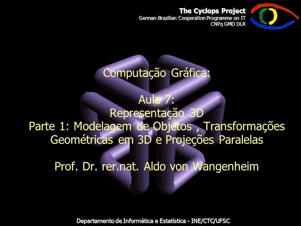 The Cyclops Project German-Brazilian Cooperation Programme on IT CNPq GMD DLR Departamento de Informática e Estatística - INE/CTC/UFSC Computação Gráfica: Aula 7: Representação 3D Parte 1: Modelagem de Objetos, Transformações Geométricas em 3D e Projeções Paralelas Prof.