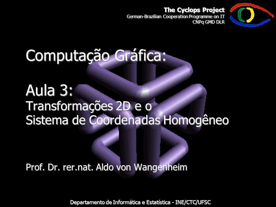 The Cyclops Project German-Brazilian Cooperation Programme on IT CNPq GMD DLR Departamento de Informática e Estatística - INE/CTC/UFSC Computação Gráfica: Aula 3: Transformações 2D e o Sistema de Coordenadas Homogêneo Prof.