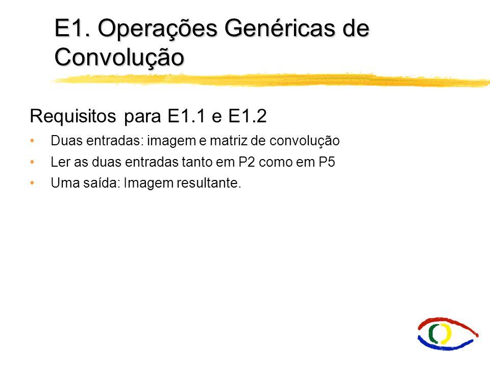 E1. Operações Genéricas de Convolução E1.2 Convolução Genérica A aplicação de convolução simples pode ser extendida para outros tipos de matriz de fil