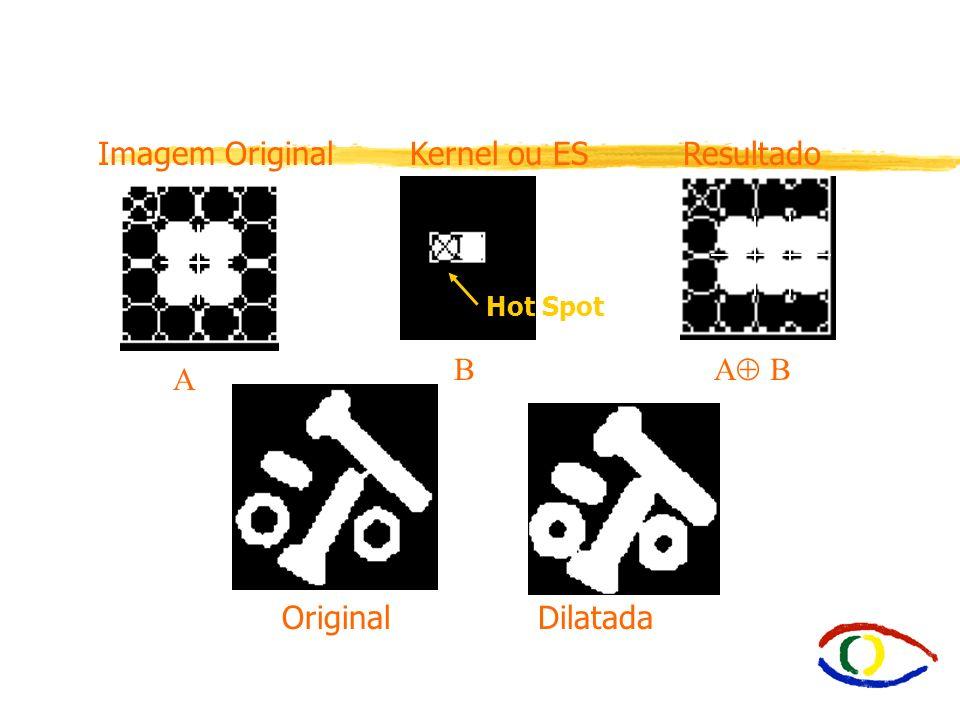 E2.1 Dilatação íDilatação - Expande uma imagem. A B = { c | c = a + b, a A, b B } assim onde A = Imagem original B = Elemento estruturante ou Kernel í