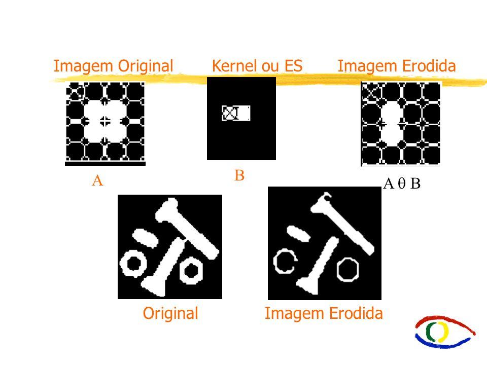 E2.2. Erosão íErosão - Encolhe uma imagem. A B = ( x | x + b A para todo b B) íA B é o conjunto de translações de B que posicionam B sobre os conjunto