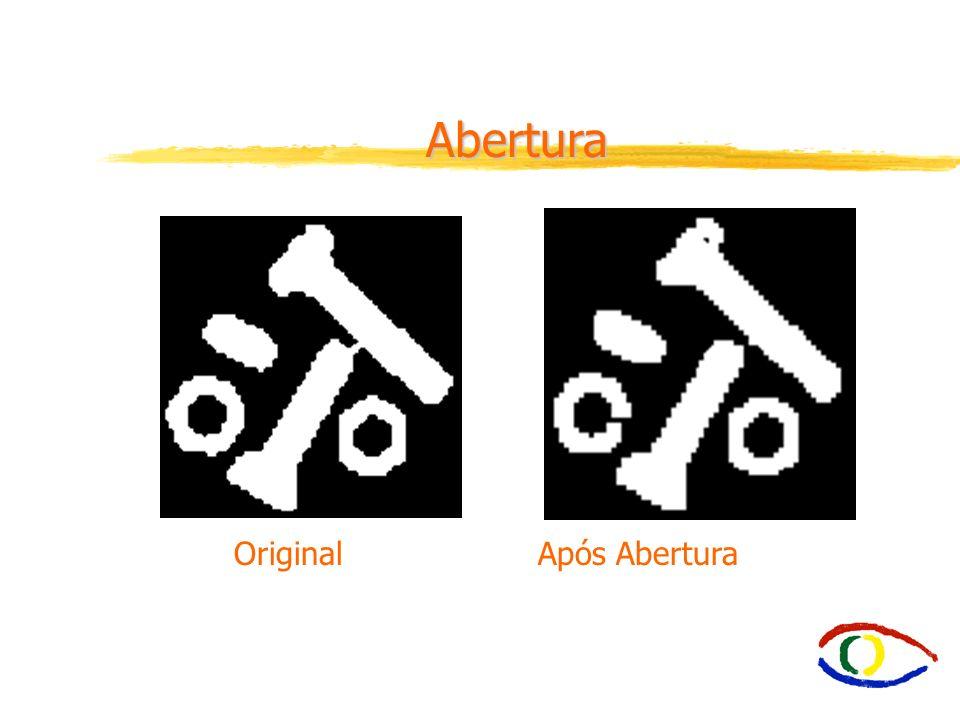 E2.6 Abertura (Opening) íOpening - suaviza o contorno de uma imagem. íQuebra estreitos e elimina proeminências delgadas. íÉ usada também para remover