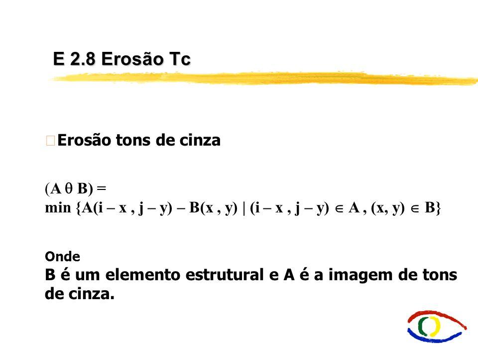 Morfologia Matemática - Introdução Tons de Cinza A idéia básica de Morfologia binária extende-se para tom de cinza, mas operações lógicas simulam a co