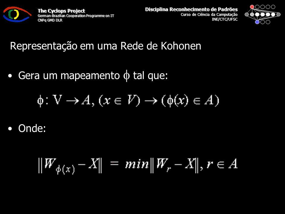 Disciplina Reconhecimento de Padrões Curso de Ciência da Camputação INE/CTC/UFSC The Cyclops Project German-Brazilian Cooperation Programme on IT CNPq GMD DLR Representação em uma Rede de Kohonen Gera um mapeamento tal que: Onde:
