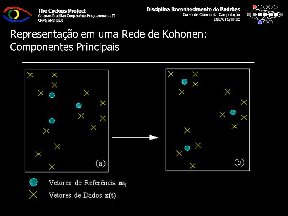 Disciplina Reconhecimento de Padrões Curso de Ciência da Camputação INE/CTC/UFSC The Cyclops Project German-Brazilian Cooperation Programme on IT CNPq GMD DLR Representação em uma Rede de Kohonen: Componentes Principais