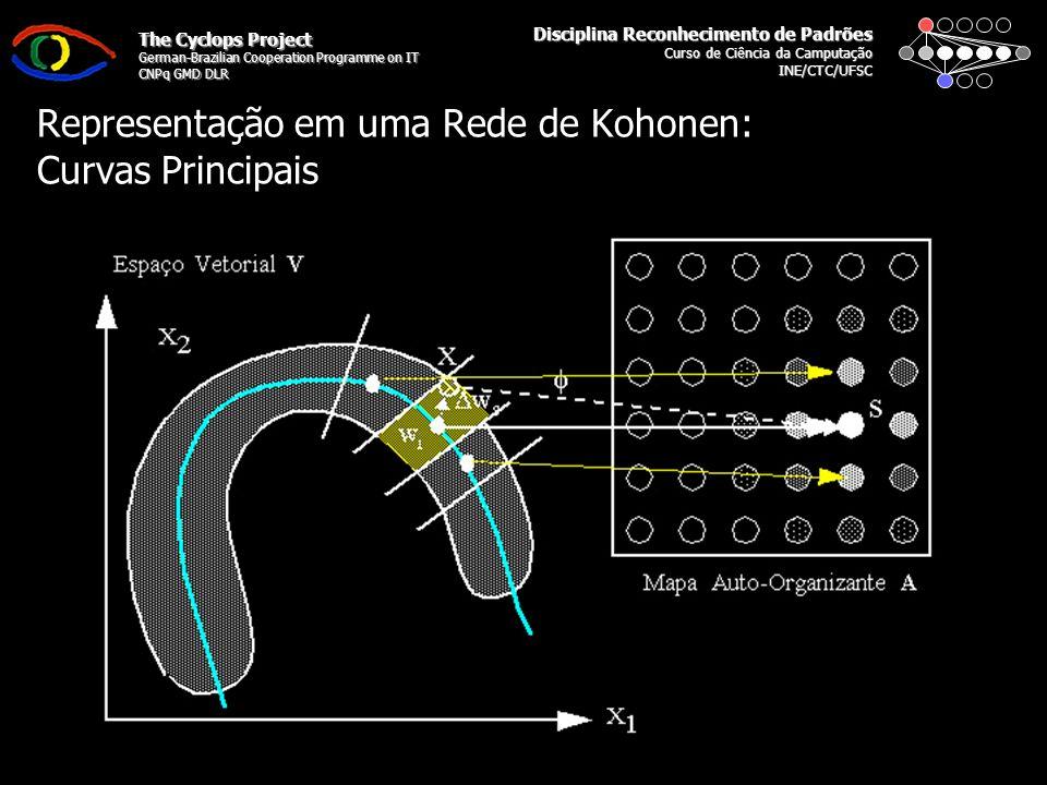 Disciplina Reconhecimento de Padrões Curso de Ciência da Camputação INE/CTC/UFSC The Cyclops Project German-Brazilian Cooperation Programme on IT CNPq GMD DLR Representação em uma Rede de Kohonen: Curvas Principais